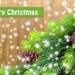 Christmas tree branch on wooden background — Stock Photo