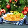 Plate with homemade hachapuri, on wooden table, on bright background — ストック写真