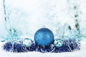 Composition of the Christmas decorations on light winter background — Stockfoto