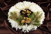 Christmas wreath on fabric background — Foto de Stock