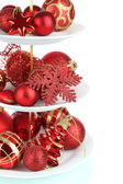 Christmas decorations on dessert stand, isolated on white — Stock Photo