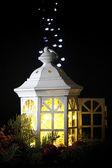 Decorative glowing lantern at night — Stok fotoğraf