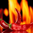 Stock Photo: red hot chili peppers on fire background