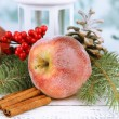 Christmas composition with red winter apples on table close up — Stock Photo