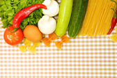 Cooking concept. Groceries on tablecloth background — Stok fotoğraf