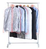在情况下,用于存储在孤立的白色衬底上的衣架上办公室男衬衫 — 图库照片