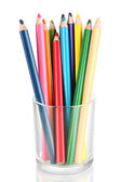 Colorful pencils in glass isolated on white — Stock Photo