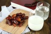 Conceptual photo of Ramadan food:dates palm, milk and water — Stock Photo