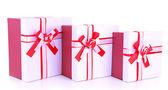 Gift boxes, isolate on white — Stock Photo