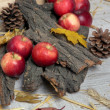 Stock Photo: Apples with bark and bumps on wooden background