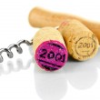 Wine corks with corkscrew isolated on white — Stock Photo #37033281