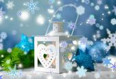 Christmas lantern on light background — Stockfoto