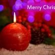 Stock Photo: Candle and Christmas tree bud on wooden table on bright background