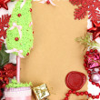 Frame with vintage paper and Christmas decorations close up — 图库照片