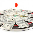 Dart on dartboard and money isolated on white. Concept of success. — Stock Photo #37099989