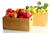 Juicy apples with green leaves in wooden crates, isolated on white — Stock Photo