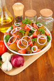 Turkey meat in bowl on wooden table close up — Stock Photo