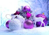 Christmas decorations on light background — Stock Photo