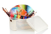 Plastic basket with art supplies isolated on white — Foto de Stock