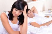 Offended couple in bed — Foto de Stock