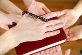 Muslim praying hands on light background — Stock Photo