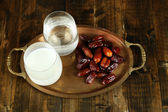 Conceptual photo of Ramadan food:dates palm, milk and water — Stock Photo