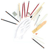 Professional art materials and sketch, isolated on white — Stock Photo