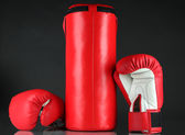 Boxing gloves and punching bag, isolated on black — 图库照片