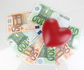 Love for money concept. Heart on European currency isolated on white — Stock Photo