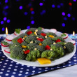 Stock Photo: Christmas tree from broccoli on table on dark background