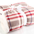 Warm plaid isolated on white — Stok fotoğraf