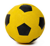Children's yellow football ball, isolated on white — Photo