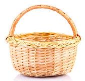 Empty wicker basket, isolated on white — Stock Photo