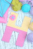 One letter of knit handmade alphabet close up — Foto de Stock