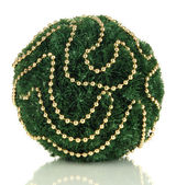 Christmas fir-tree ball with beads isolated on white — Stock Photo