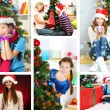 Collage of happy family celebrating Christmas at home — Stock Photo #37163555
