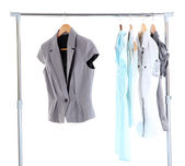 Office clothes on hangers, isolated on white — Stock Photo