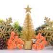 Composition of Christmas decorations isolated on white — Stock Photo