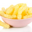 Air corn sticks in plate isolated on white — Stock Photo