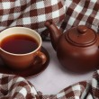 Cup and teapot with plaid close up — Stock Photo