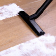 Stock Photo: Vacuuming floor in house
