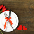 Romantic holiday table setting, on wooden background — Stock Photo