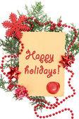 Cornice con carta d'epoca e decorazioni natalizie da vicino — Foto Stock