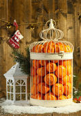 Tangerines in decorative cage with Christmas decor, on wooden background — Stock Photo