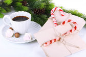 Christmas candy canes, cup with hot drink and letters for Santa, isolated on white — Foto de Stock