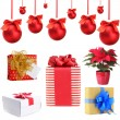 Group of Christmas objects isolated on white — Stock fotografie