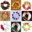 Collection of Christmas wreathes — Stock Photo