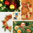 Collage of Christmas wreathes — Stock Photo