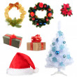 Stockfoto: Group of Christmas objects isolated on white