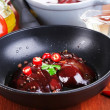 Stock Photo: Raw liver in pon cooking surface close-up